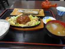ハンバーグ野菜炒め定食と干物